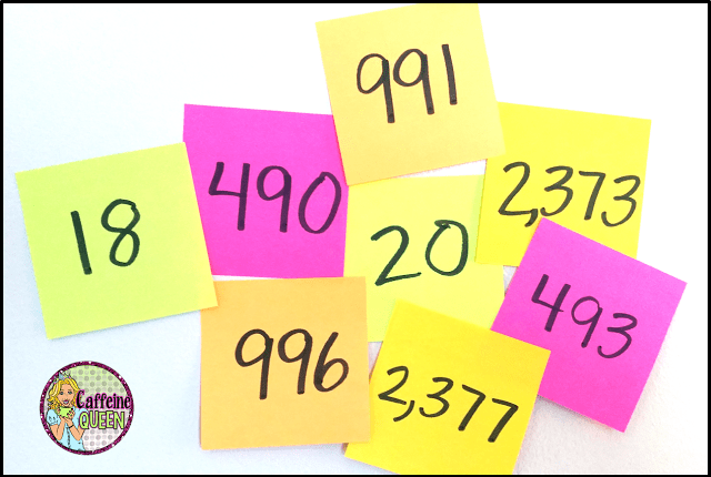 Use Post-It Notes to make numbers for your classroom Number Line