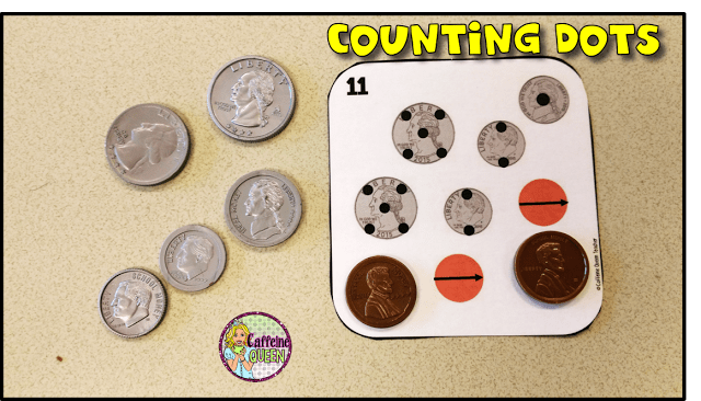 coin counting dots practice cards