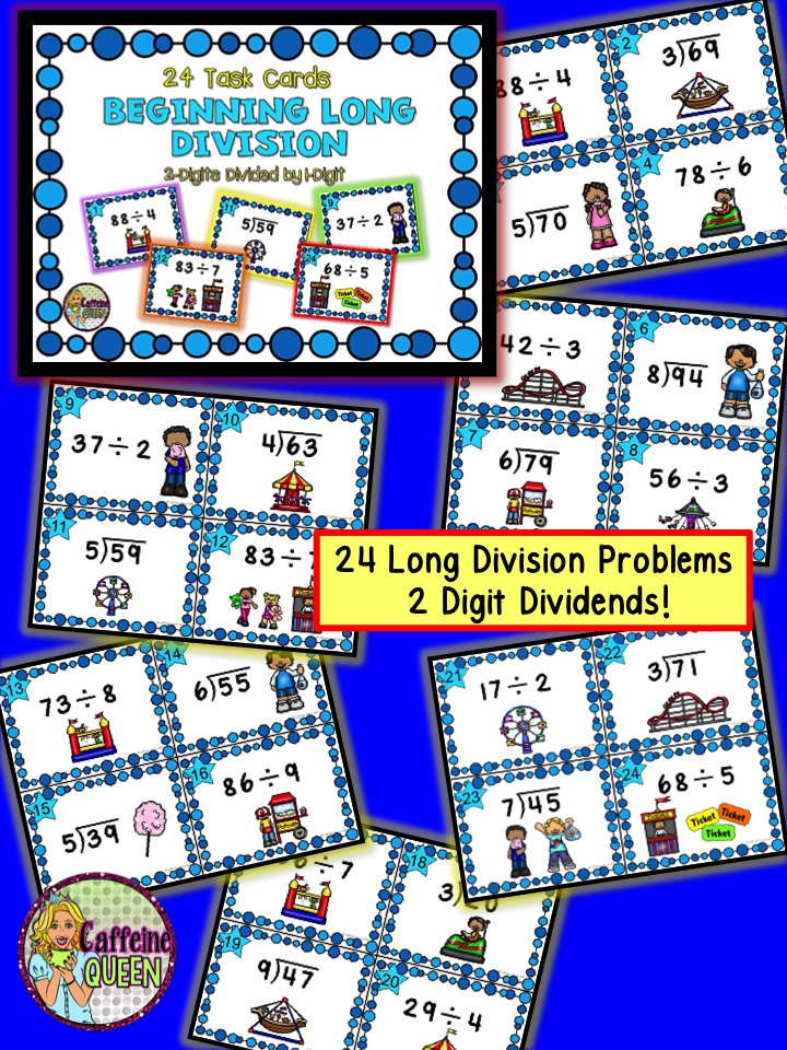 long division problems on task cards