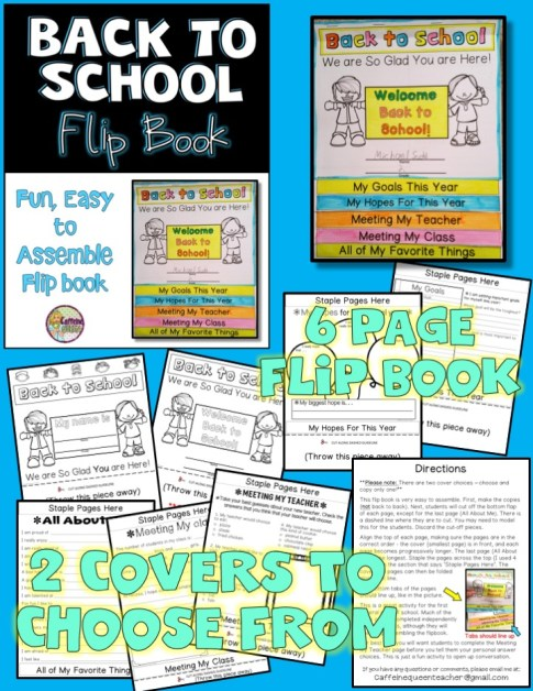 First week of school flip book activity