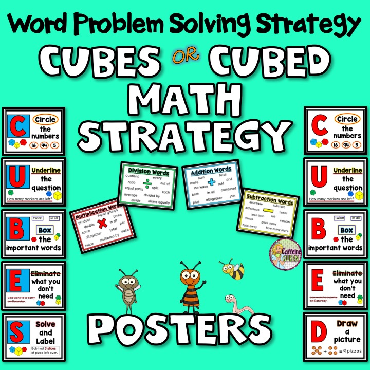 CUBES/CUBED math strategy posters for story problems