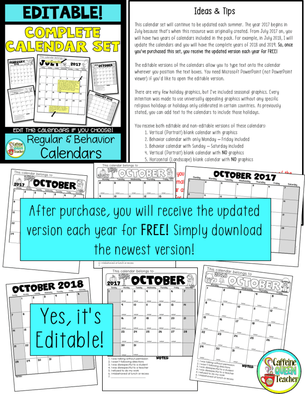 Back to School planning bundle with an editable calendar set!