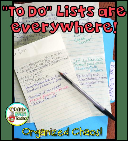 "Classroom teacher ""to-do"" lists cover my desk"