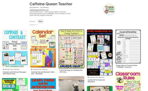 Caffeine Queen Teachers Pinterest Boards for teachers
