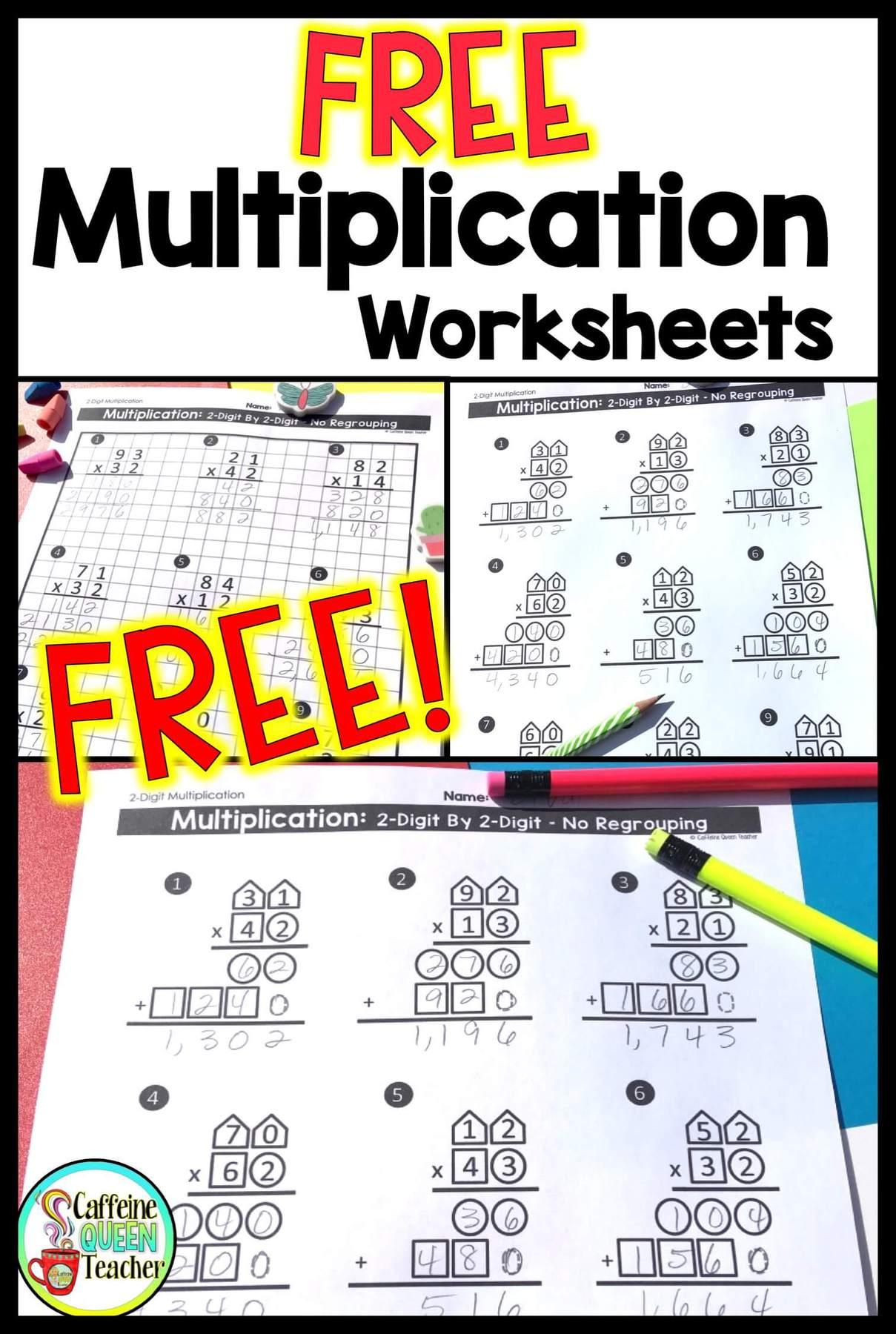 2-Digit Multiplication Worksheets: Differentiated - Caffeine Queen Teacher [ 1800 x 1209 Pixel ]