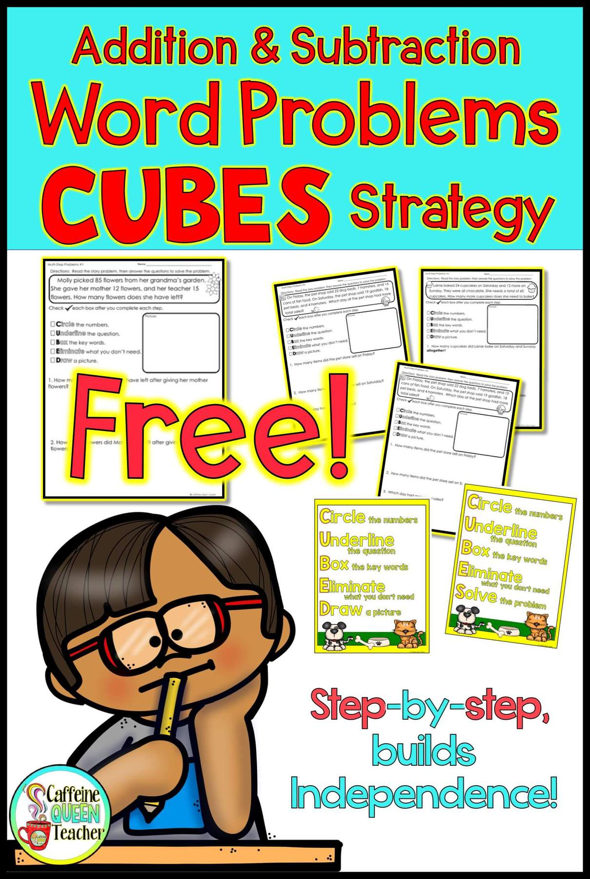 medium resolution of FREE Worksheet - Addition and Subtraction Word Problems Strategy - Caffeine  Queen Teacher