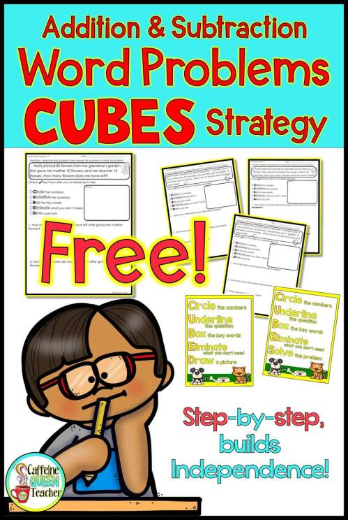 small resolution of FREE Worksheet - Addition and Subtraction Word Problems Strategy - Caffeine  Queen Teacher