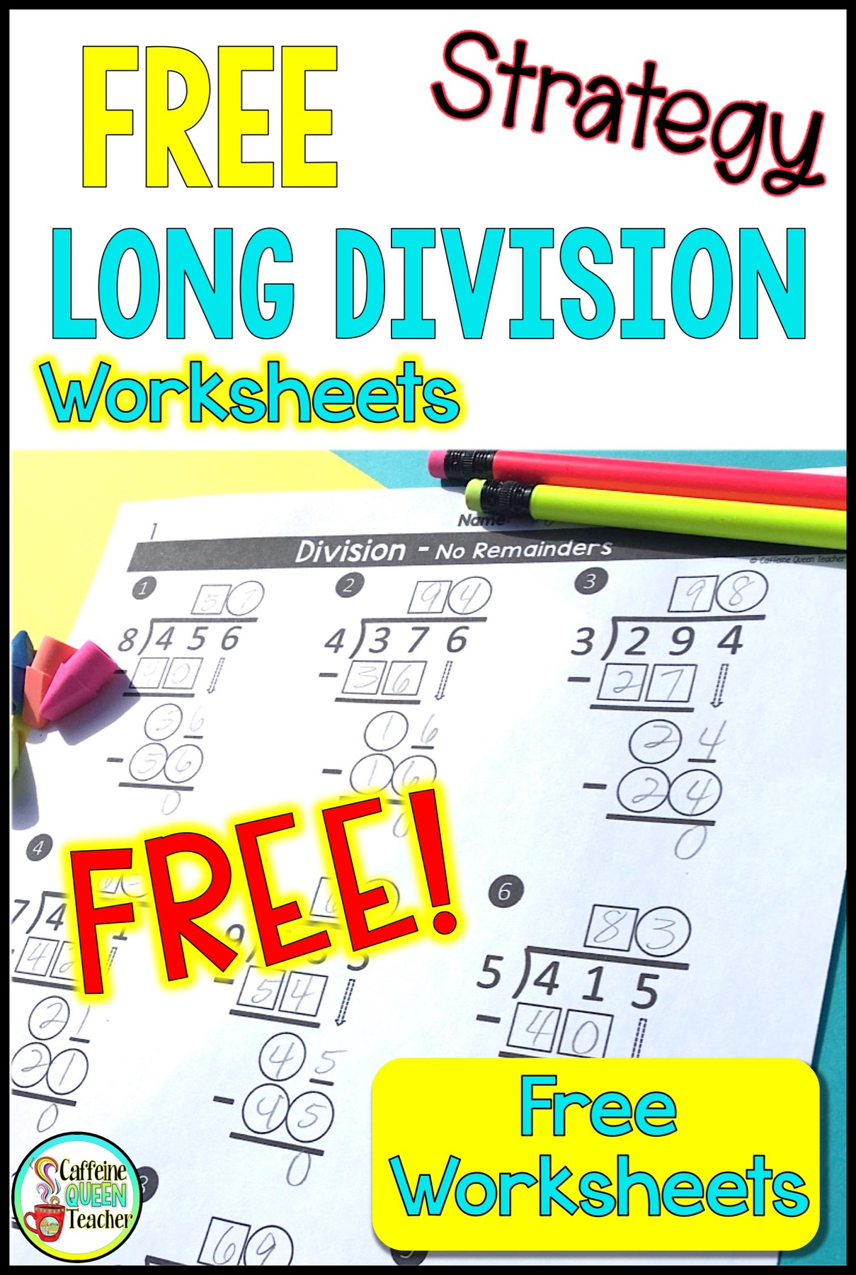 Differentiated Long Division Worksheets for FREE - Caffeine Queen Teacher [ 1800 x 1209 Pixel ]