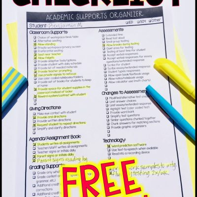 Special Education Accommodation IEP Checklist for Teachers