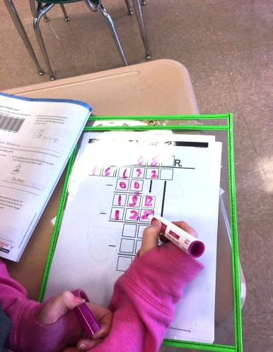 Long division with visual guidance