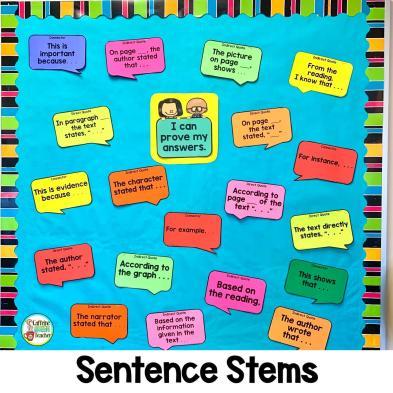 bulletin board for sentence starters