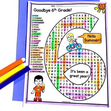 image of 6th grade word search puzzle activity