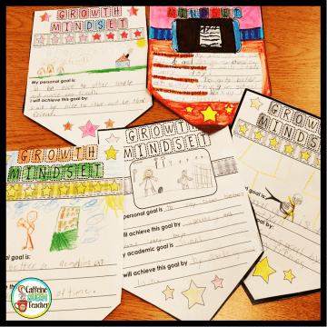 image of goal setting growth mindset banners made by students