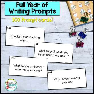 Cover image of 300 writing prompt cards for students