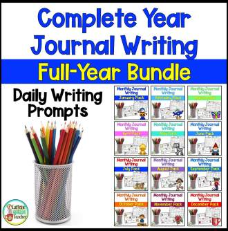 cover of the Complete Year Journal Writing Bundle available at Teachers Pay Teachers