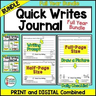 Quick Writes Journal digital and printable full year bundle cover for students