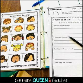image of behavior intervention binder page for students to identify their feelings