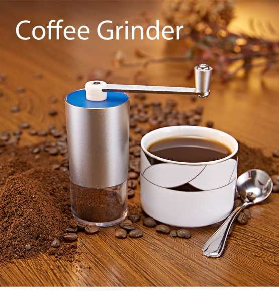Mini Manual Coffee Grinder with Transparent Body Adjustable, Ceramic Millstone