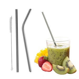 Reusable Bent/Straight Stainless Steel Straws (Metal Straw/Cocktail Drinking Straw) for 20oz 30oz