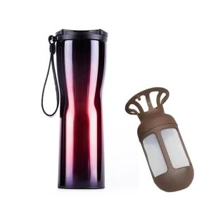 Travel Mug Coffee Tumbler Vacuum Bottle Touch Temperature Display Gray Gradient Purple