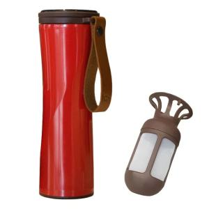Travel Mug Coffee Tumbler Vacuum Bottle Touch Temperature Display Gray Red