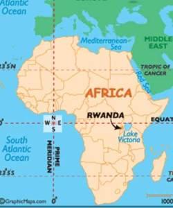 Map of Africa with Rwanda identified by an arrow