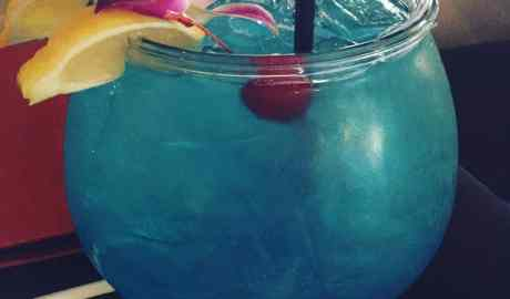 Proper use of fish bowl to hold fruity cocktail