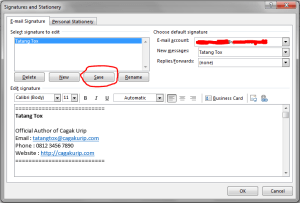 Setting Signature di Outlook 6