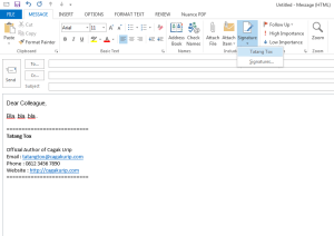 Setting Signature di Outlook 7
