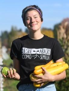 Momo Wilms-Crowe holding vegetables