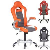 Chefsessel RACING MONZA Orange-Grau-Weiß aus Kunstleder