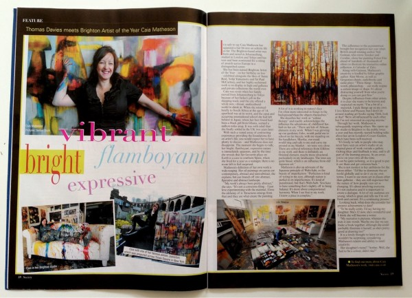 Caia Matheson interviewed by Award Winning Journalist Thomas Owain Davies for Sussex Society Magazine March Issue 2014