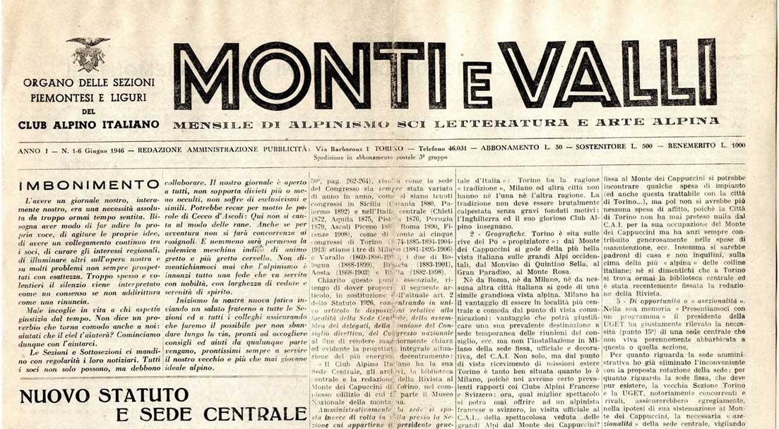 Articolo di giornale Monti e Valli del 1946