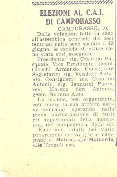 Articolo di giornale del 1960