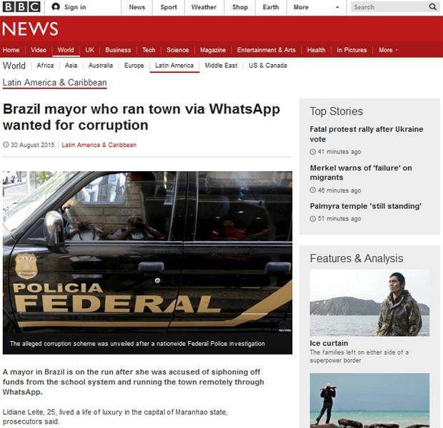BBC destaca busca por prefeita que comandava cidade via WhatsApp