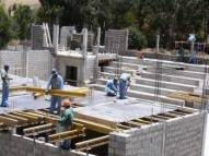 Formwork at the ceiling of the changing room tract