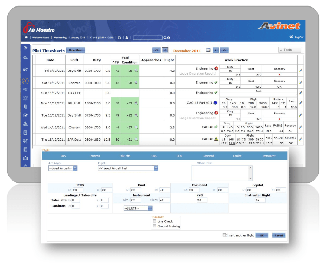 timesheets from air maestro