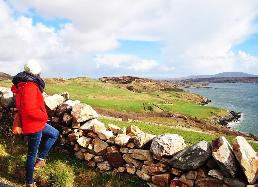Walking along the Wild Atlantic Way in Western Ireland