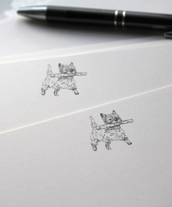 Cairn Terrier with a stick notecard