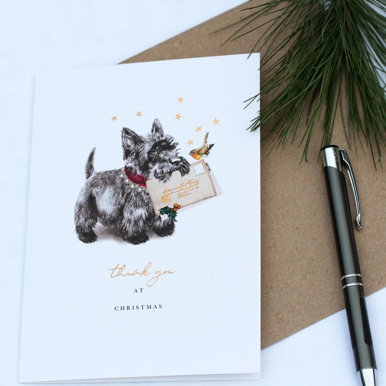 Card with a Cairn terrier carrying a thank you card