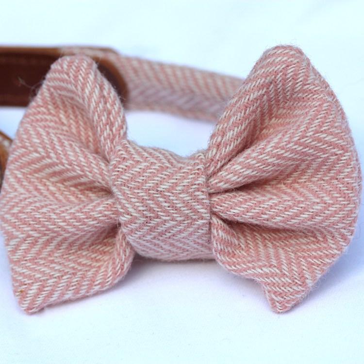 Pink Herringbone Tweed Bow Tie for Dogs