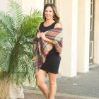 Black body con tank dress with plaid blanket scarf