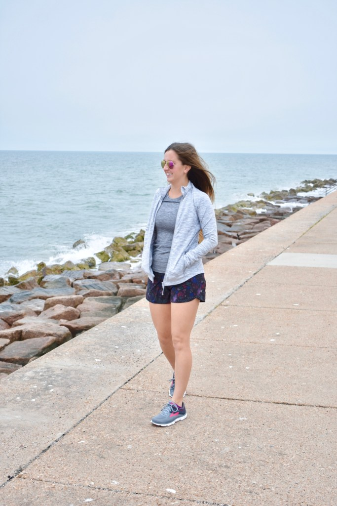 Grey Lululemon Swiftly Tech long sleeve and floral running shorts