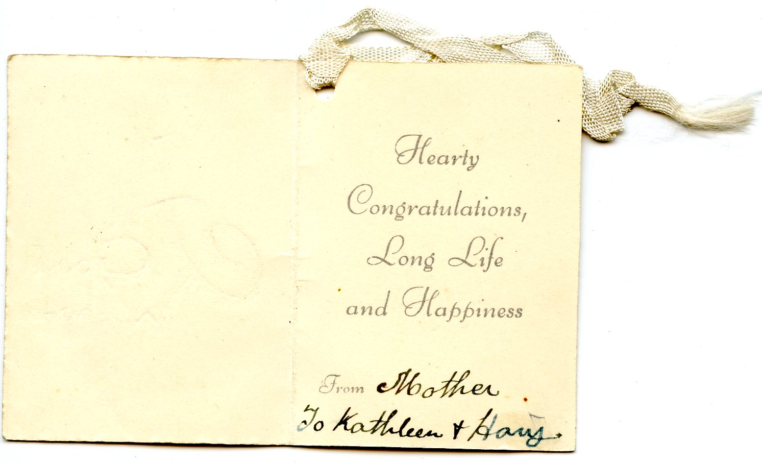 CROUT K And H Message In Wedding Card Seeking Susan