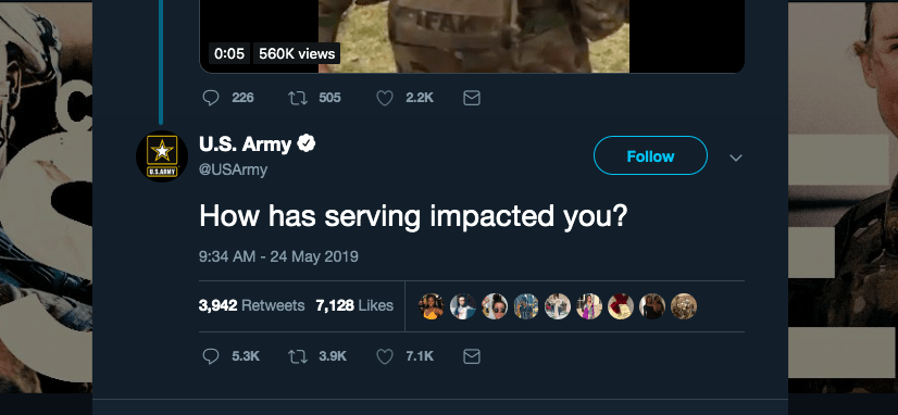 """e043d2b9 After posting a video of a young recruit talking to the camera about how  service allows him to better himself """"as a man and a warrior"""", the US Army  tweeted, ..."""