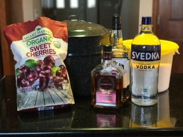 Preparing to make drunken cherries