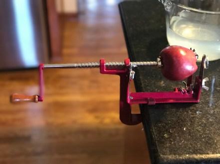 Apple on apple peeler/corer/slicer