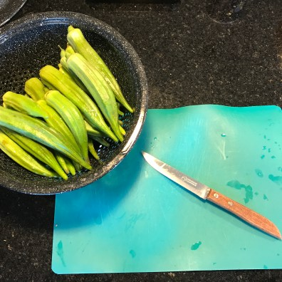 Washed okra ready to be cut