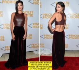 Jessica Szohr Looks Edgy In Leather & Velvet : http://hollywoodlife.com/2012/10/26/jessica-szohr-pencils-of-promise-dress/