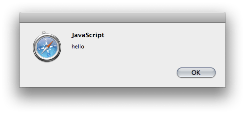 javascript alert showing a Hello message